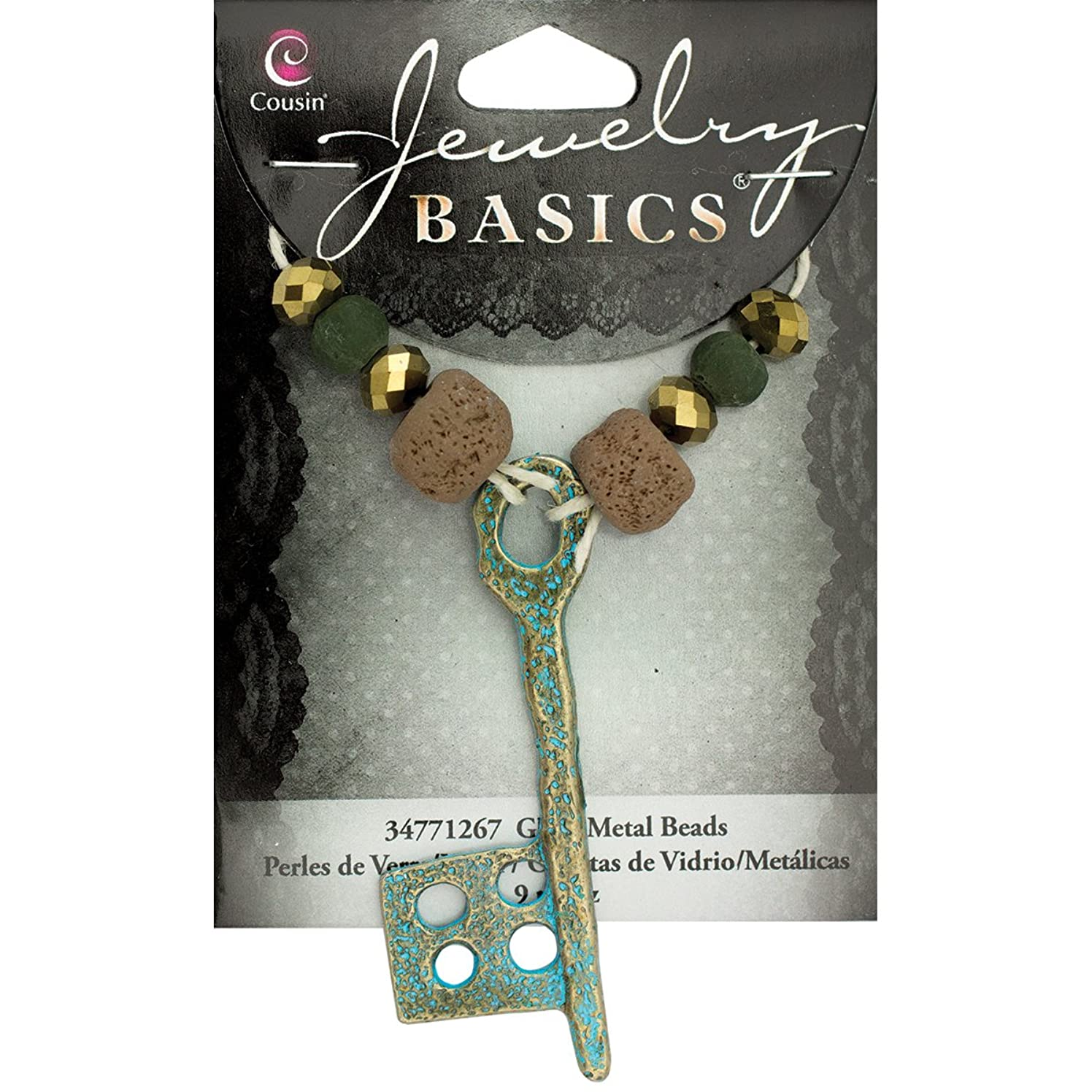 Cousin Jewelry Basics Metal Accents-Clay Key with Beads (9 Pack)