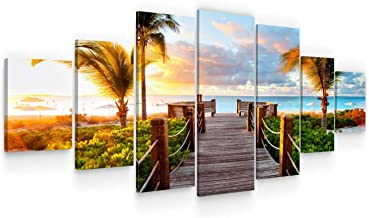 Startonight Huge Canvas Wall Art Summer Bridge Beach I - USA Large Home Decor - Dual View Surprise Artwork Modern Framed W...