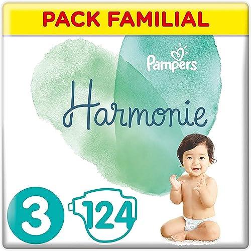 Pampers Couches Harmonie Taille 3 (6-10kg) 0% de compromis, 100% d'absorption, Ingrédients d'origine végétale, Hypoal...