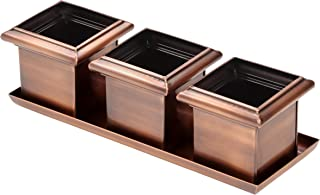 H Potter Succulent Planter Pots Small Flower Cactus Herb Planters Each Copper Pot is 5 Inch Wide 5 Inch High Indoor Windowsill Plant Container for Planting with Drainage Tray GAR625