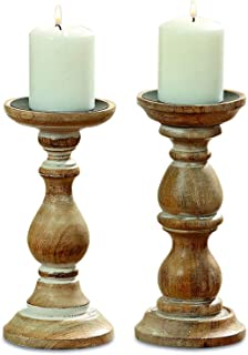 chunky wood candle holders
