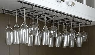 Useful. Under Cabinet Hanging Stemware Rack Hold Up To 24 Wine Glasses (Black)
