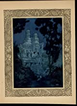 Palace Ruins Under the Night Sky Stars Trees lovely c. 1915 Fantasy color print