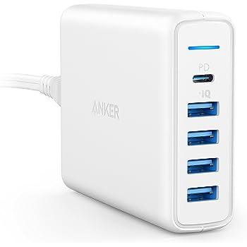 Anker PowerPort I PD - 1 PD & 4 PowerIQ(PD対応 60W 5ポート USB-C急速充電器)【PSE認証済/PD対応/PowerIQ】 iPhone 12 / 12 Pro / 11 / XR、MacBook、Galaxy S10 / S10+、その他Android各種対応(ホワイト)