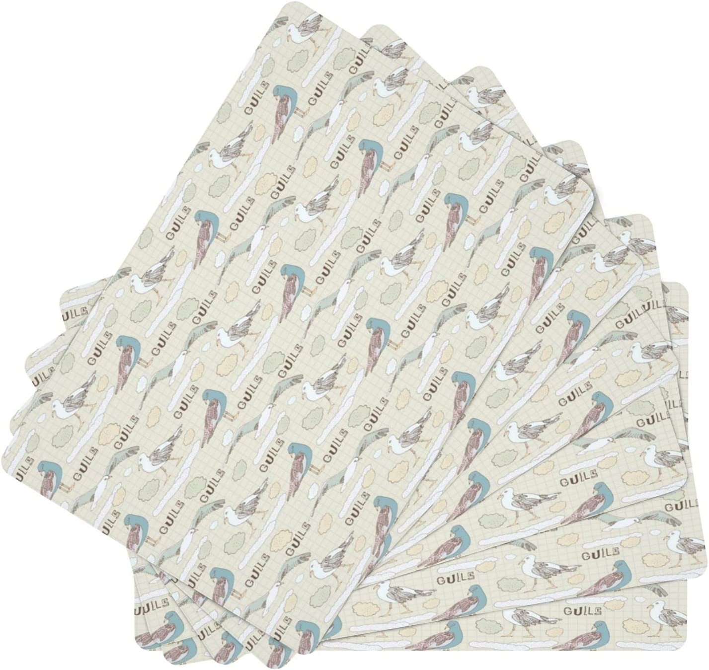 favorite Seagulls Pattern Background Leather Table Washable Mats Max 56% OFF Set 6 of