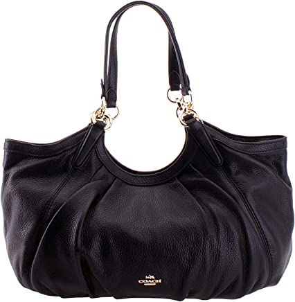 0cd02f3eed48 SALE! New Authentic COACH Roched Black Pebble Leather Shoulder Bag