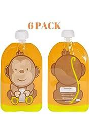 BPA-FREE 6 bolsas Squeeze Meals Bolsas Reutilizables de Comida y Pur/és para Beb/és y Ni/ños Zoo Animals