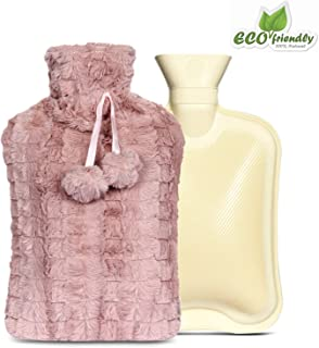 2 litres Hot Water Bottle with Knitted Cover Offers Safe Soothing Warmth, Effective Pain Relief for Muscle Aches, Cramps, Arthritis