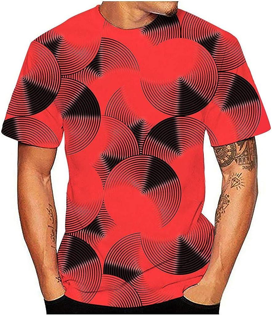 Gergeos Mens Tees Novelty 3D Printed Round Neck Short Sleeve T-Shirt Summer Casual Sport Shirts