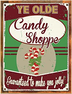 Wood-Framed Ye Olde Candy Shoppe Metal Sign, Christmas Peppermint Candy Cane Treats, on reclaimed, rustic wood