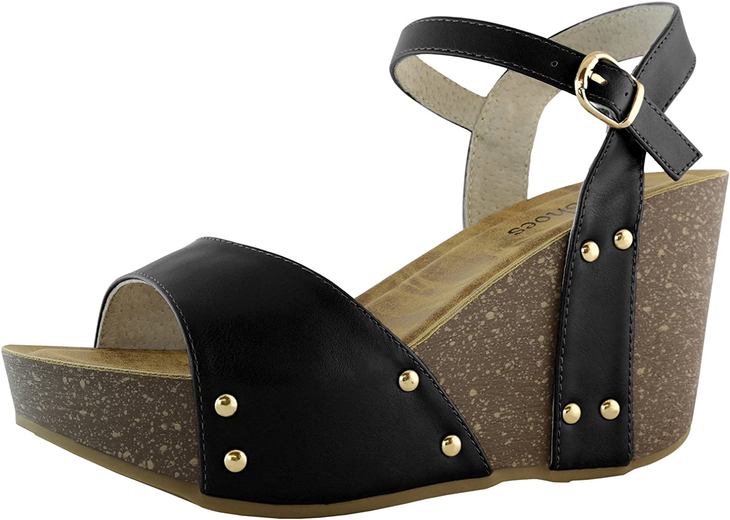 Dailyshoes Women's Slide On Wedge Comfort Chunky Platform Open Toe Casual Sandals Buckle shoes