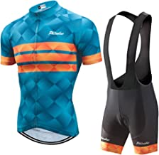 PHTXOLUE Cycling Kits for Men Cycling Jersey Set Uniform Clothes Bike Bicycle Shirt+3D Gel Pad Cushion Bibs Shorts