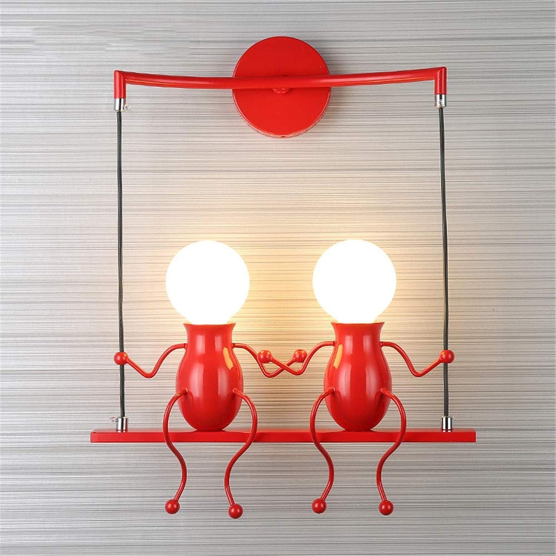 Moderne kreative Wandleuchte, Humanoides Robotermodellieren Einfache Wandleuchte Art Deco Licht Bis zu 60W E27-Basis Schlafzimmer, Flur, Esszimmer, Küche,rot