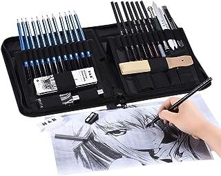 Goolsky 40pcs/ Set Professional Sketching Drawing Pencils Kit Including Sketch Graphite Charcoal Pencils Willow Sticks Era...