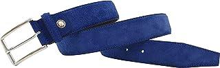 Cintura uomo in Vera Pelle Scamosciata Blu – 100% Made in Italy – Alta qualità