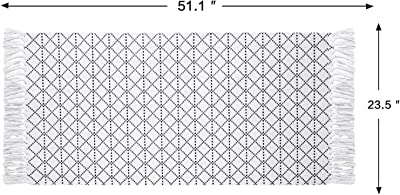 MUBIN Boho Bathroom Rug with Tassel, 2'x3' Moroccan Cotton Woven Rug Small Geometric Tribal Throw Rugs for Bathroom, Living Room, Bedroom, Laundry, Kitchen Sink, Doorway, Hallway (2'x4', Black)