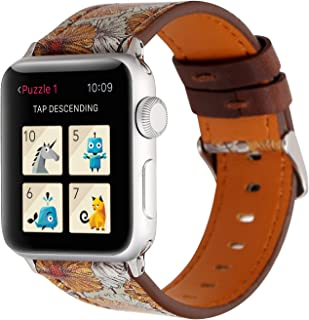 YOSWAN Bracelet for Apple Watch, National Black White Floral Printed Leather Watch Band 38mm 42mm Strap for Apple Watch Flower Design Wrist Watch Bracelet (Retro Flower Yellow, 42mm)
