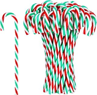 Hicarer 50 Pieces Christmas Plastic Candy Cane Christmas Tree Hanging Ornaments for Holiday Party Decoration Favors (Color 1)