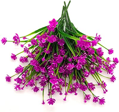 AITISOR Artificial Flowers Fake Outdoor Plants Faux UV Resistant Flower Plastic Shrubs Indoor Outside Hanging Decorations (Fushia)