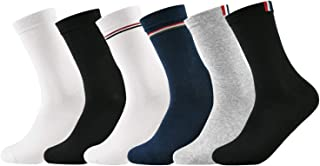 Mens Dress Socks Black All Cotton Socks for Working Running Hiking Travel Accessories Casual Socks for Men Pack of 6
