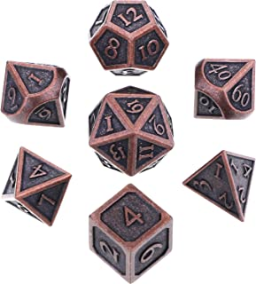 Hestya 7 Pieces Metal Dices Set DND Game Polyhedral Solid Metal D&D Dice Set with Storage Bag and Zinc Alloy with Enamel for Role Playing Game Dungeons and Dragons (New red Copper)