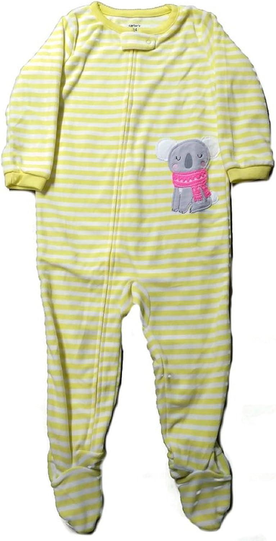 Carter's Little Girls' 1-Piece Microfleece Footed Pajama-Yellow/Koala
