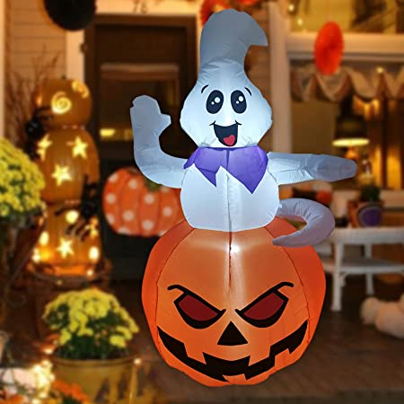 GOOSH 5 FT Halloween Inflatable Outdoor Ghost Sitting on The Pumpkin, Blow Up Yard Decoration Clearance with LED Lights Built-in for Holiday/Party/Yard/Garden