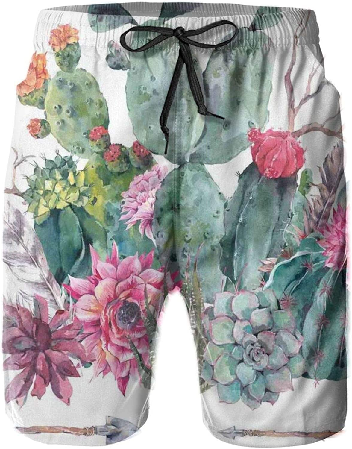 Exotic Natural Watercolor Bouquet in Boho Style Succulent Flowers Feather and Arrows Printed Beach Shorts for Men Swim Trucks Mesh Lining,M