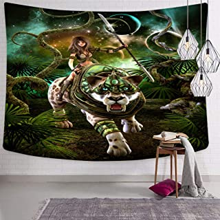 Peyqigo Wall Hanging Tapestry 60x80 Inch Polyester Graphics Fantasy Scene Girl Saber-Tooth Tiger Magical Plants Galaxy Bedroom Living Room Dorm Decoration Picnic Mat Beach Towel