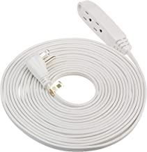 ClearMax 3 Power Cable Outlet- Indoor White Extension Cord Strip 16 AWG, 13 AMP, 125 Volts, 1625 Watts- 3 Prong Grounded Flat Plug, UL Listed 25 feet
