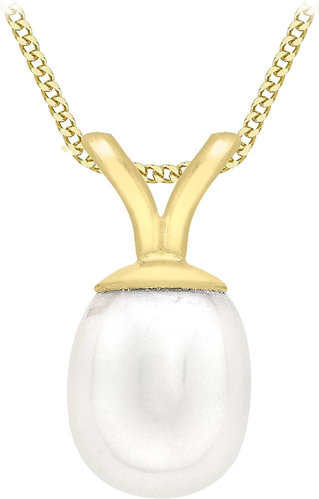 Carissima gold collana con pendente da donna in oro giallo 9k (375) con perla 1.44.4114
