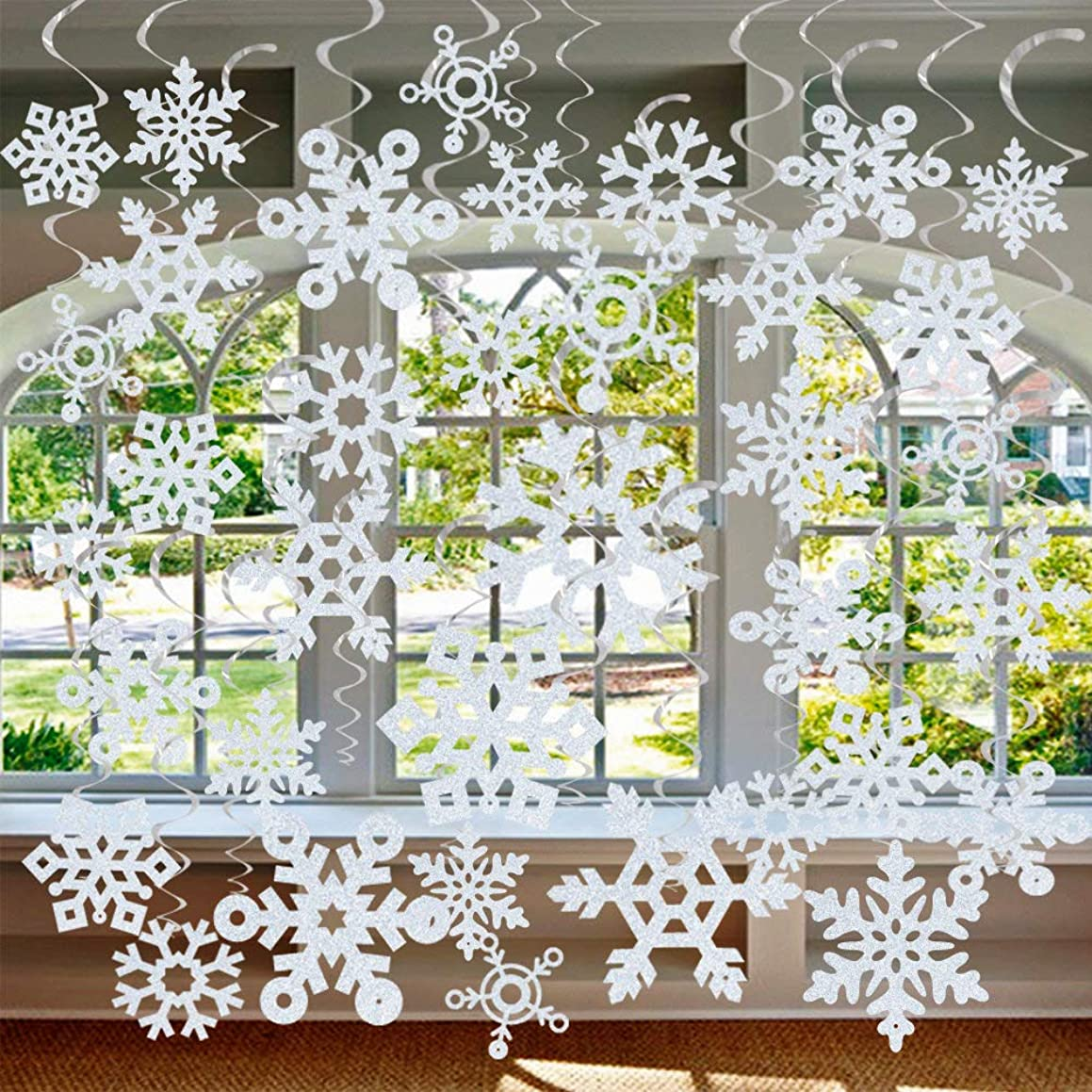 GOER 36 Pcs Snowflake Hanging Swirls for New Year Christmas Winter Party Decorations