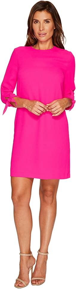 CeCe - 3/4 Tie Sleeve Moss Crepe Shift Dress