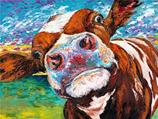Animal Curious Cow,Artwork Wall Art Home Wall Decorations for Bedroom Living Room Oil Paintings Canvas Prints-1174 (Unframed,24x32inch)