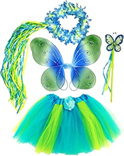 Girls Blue and Green 4 Piece - Fairy Costume Dress Up Play - Tutu Skirt, Wings, Wand and Halo Fits Age 3 to 6