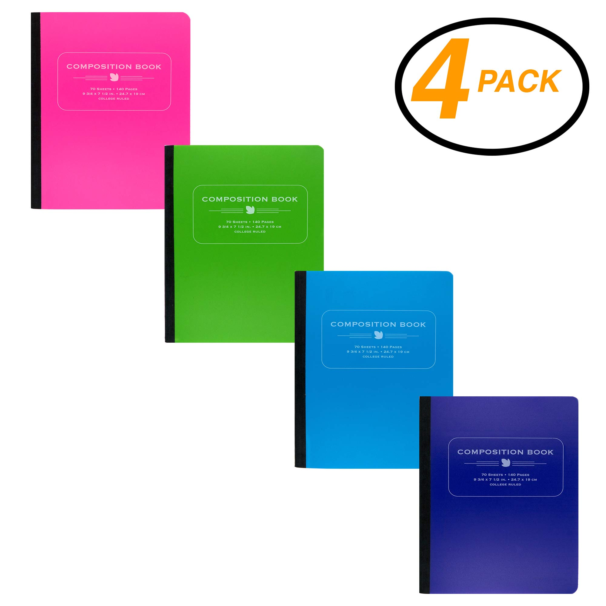 EmRaw - Cubierta de polietileno con rayas anchas, 70 hojas, para oficina, dibujo, cuaderno de notas, libros, lomo liso, para reuniones, cuaderno de tapa dura, pack de 4 unidades: Amazon.es: Oficina y papelería