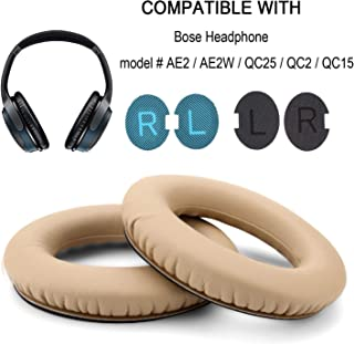Replacement Ear Pads,WADEO Earpads Cushion Kit Ear Cover for Bose Quietcomfort 2,QC2,Quiet Comfort 15,QC15,QC25,AE2,AE2i,AE2w,SoundTrue SoundLink Around Ear Headphone,Inner Foam Mats(1 Pair Khaki)