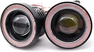 Didieyes 2pcs 3.5in White COB LED Fog Light Projector with Red Halo Ring Angel Daytime Running Light DRL Car Driving Lamps(Red, 3.5inch)