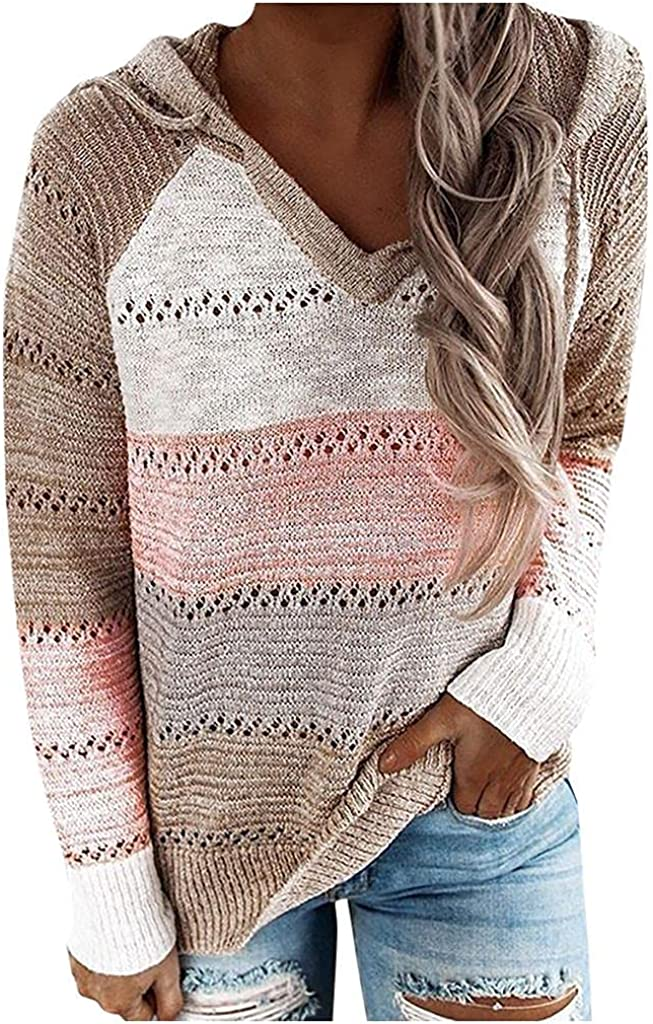 soyienma Pullover Sweaters for Women,Long Sleeve Knit Sweater V Neck Hoodie Pullover Drawstring Color Block Sweatshirt