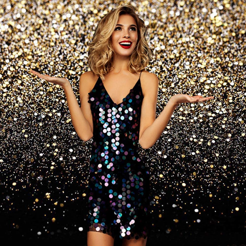 ZGWJ Gold Glitter Photo Backdrop Sequin Spot Photo Booth Background Starry Sky Shining Party Birthday Prom Wedding Newborn Photography Studio Props Party Decor 8x6ft