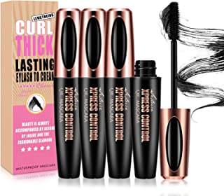 NICEMOVIC 3PCS 4D Silk Fiber Lash Mascara, Extra Long Lash Mascara and Thick, Long Lasting, Waterproof & Smudge-Proof Eyel...