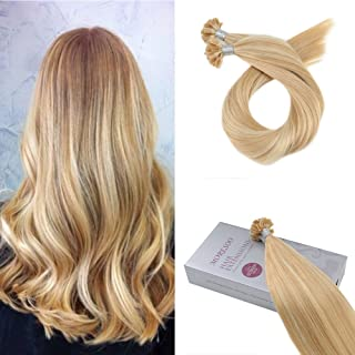 Moresoo U Tip Hair Extensions 22 Inch Keratin Fusion Hair Extensions Color #16 Blonde Highlighted with #22 Blonde Pre Bonded Human Hair Extensions 50Grams 50Strands Per Pack