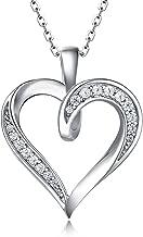 Billie Bijoux 925 Sterling Silver Infinity Love Heart Necklace Platinum Plated Round CZ Diamond Fine Woman's jewelry 18
