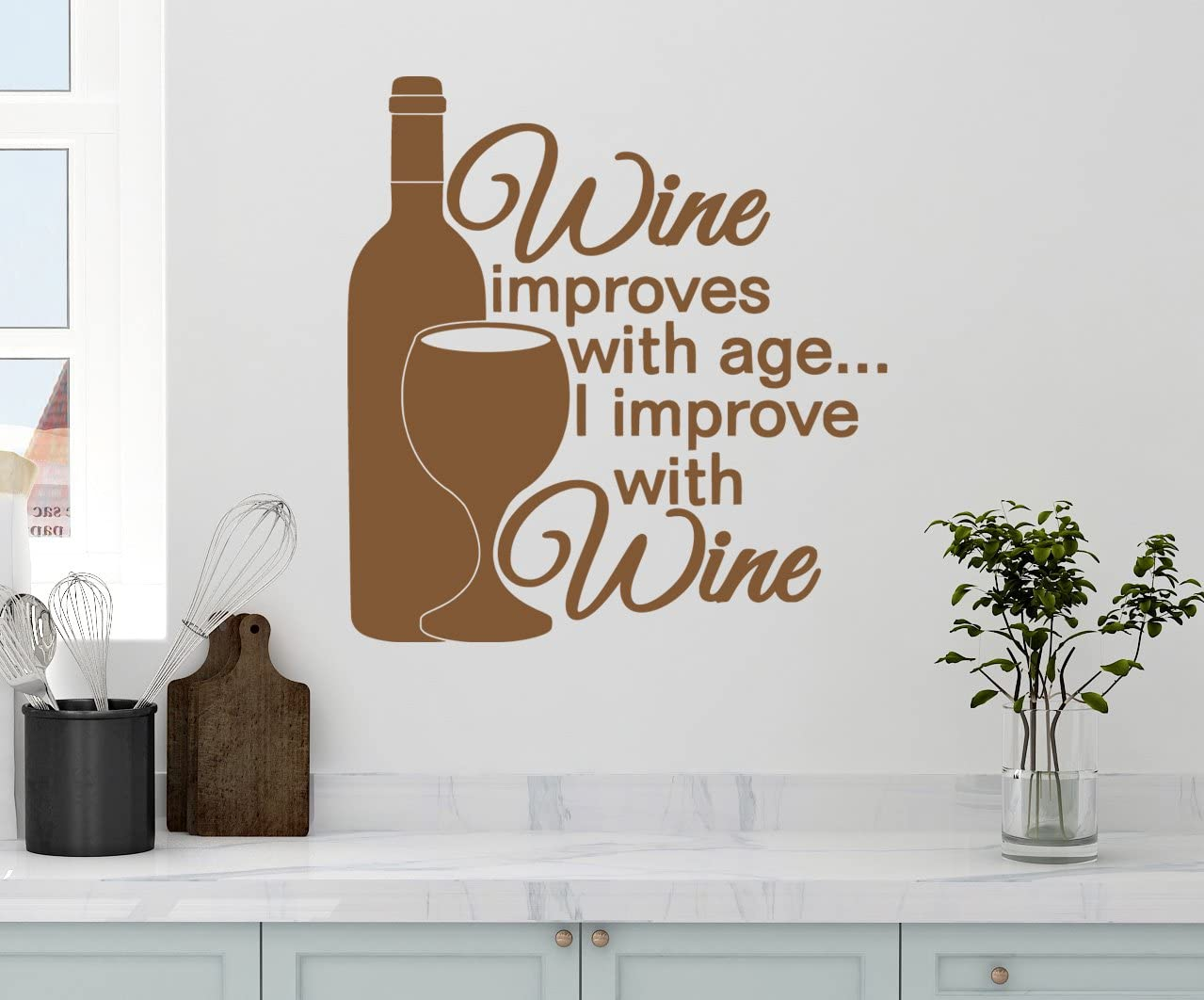 24 X24 Wine Improves With Age I Improve With Wine Drink Bottle Silhouette Kitchen Wall Decal Sticker Art Mural Home Decor Home Kitchen