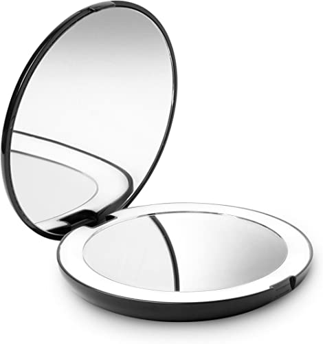 Fancii LED Compact Makeup Mirror for Handbag, 1X/10X Magnifying - Natural Daylight LED, Travel Size, Portable, 127mm ...