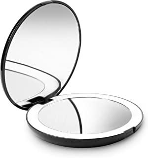 Fancii LED Lighted Travel Makeup Mirror, 1X/10X Magnification - Daylight Led, Compact, Portable, Large 130mm Wide Illuminated Mirror