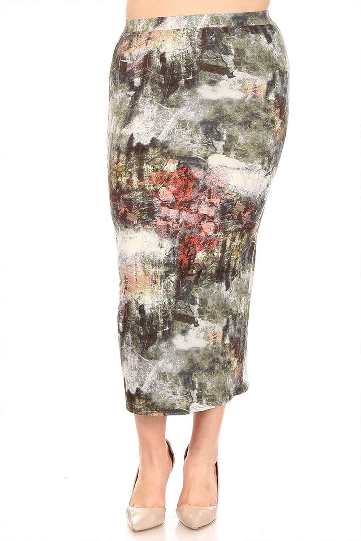 FashionStream Women's Plus Size High Waist Back Slit Printed Bodycon Pencil Midi Skirt