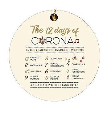 12 Días de Corona ornamento de Navidad 2020 Ornamento de Navidad Cuarentena Divertido Decoraciones de Navidad Adornos para árboles de Navidad Elegante Árbol de Navidad Colgantes