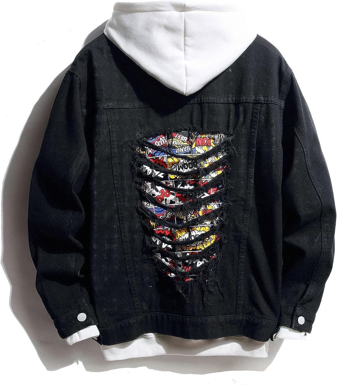 Huangse Mens Denim Jacket Hip Hop Slim Fit Ripped Jean Jacket Coat for Men Hipster Big Hole Streetwear