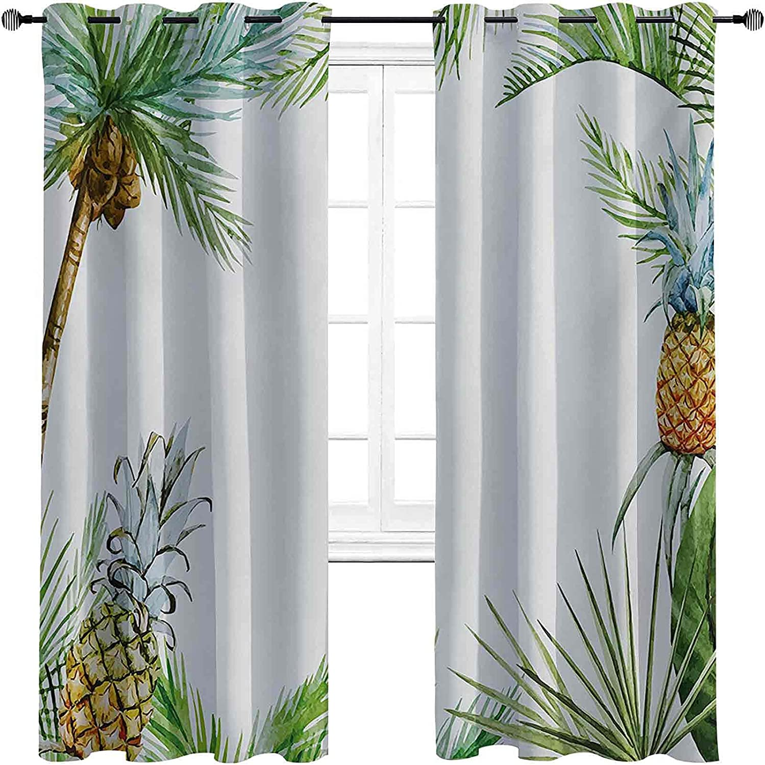 Pine Colorado Springs Mall Shading Insulated Curtain Tropical Style Watercolor Island NEW before selling ☆